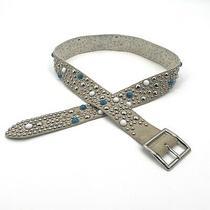 Guess Womens Size Large Ivory Leather Boho Beaded Studded Waist Belt Photo