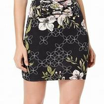 Guess Womens Skirt Black Size Medium M Stretch Knit Floral Lace Up 49 178 Photo