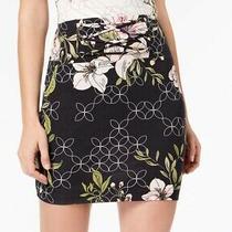 Guess Womens Skirt Black Size Xs Stretch Knit Floral-Print Lattice 69 201 Photo
