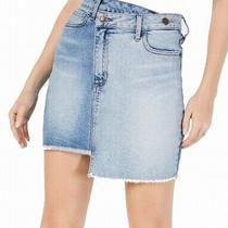 Guess Womens Skirt Light Wash Blue Size Xs Asymmetric Fringe Denim Mini 69 734 Photo
