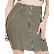 Guess Womens Skirt Olive Green Size Xs Ribbed Zip Front Straight Pencil 89 187 Photo