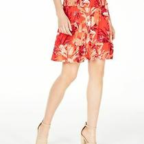 Guess Womens Skirt Red Size Xs Straight Floral-Print Smocked-Waist 69 566 Photo