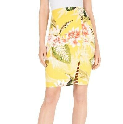 Guess Womens Skirts Yellow Size XS Stretch Knit Floral Print Lattice $58 670 Photo