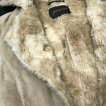 Guess Womens Soft 100% Leather Suede Shearling Button Designer Jacket Size S Photo