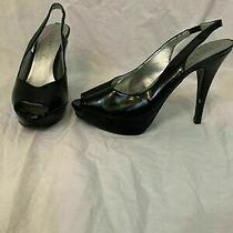 Guess Womens Solid Black Ankle Strap Peep Toe High Heels Size 8.5 Photo