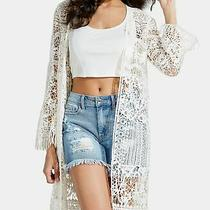 Guess Womens Sweater Whisper White Size Xs/ S Kitra Crochet Duster 98 366 Photo