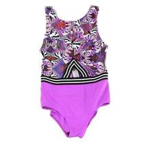 Guess Womens Swimwear Purple Size Medium M One Piece Opem Back Printed 50 083 Photo