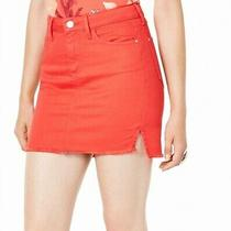 Guess Womens Talia Denim Mini Skirt Red Size Xs Frayed Step Split-Hem 69 163 Photo