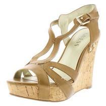 Guess Womens Teal Tan Cork Wedge Platform Sandals Shoes 6 Medium (Bm) Bhfo 0418 Photo