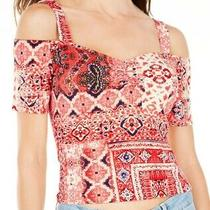 Guess Womens Top Classic Red Size Xl Cropped Cold Shoulder Bandana Print 39 076 Photo