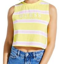 Guess Womens Top Classic Yellow Size Xs Cropped Embroidered Logo 39- 411 Photo