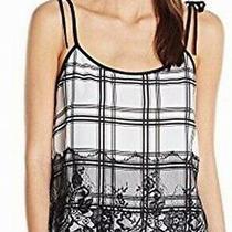 Guess Womens Top White Size Medium M Plaid Lace Tank Tie Shoulder 49- 246 Photo