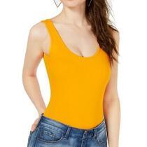 Guess Womens Tops Orange Size Xs Tank Bodysuit Scoop Neck Logo Print 44- 041 Photo