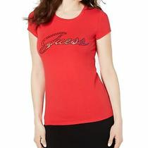 Guess Womens Tops Red Size Medium M Knit T-Shirt Embellished Logo 34 436 Photo