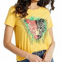 Guess Womens Tops Yellow Size Xl Knit Embellished Animal Graphic Print 44- 237 Photo
