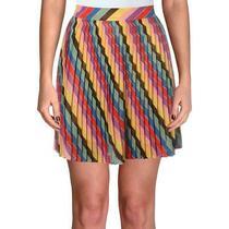 Guess Womens Yellow Glitter Striped a-Line Pleated Skirt 28 Bhfo 7199 Photo