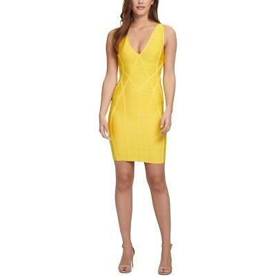 Guess Womens Yellow Open Back V-Neck Party Bodycon Dress XS BHFO 7232 Photo