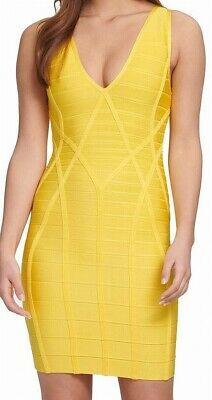 Guess Womens Yellow Size Medium M Open Back Bodycon Bandage Dress $148 311 Photo