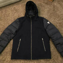 Guess Wool and Puffer Navy Hooded Jacket Size Large Euc Photo