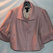 Guess Wool Crop Bolero Jacket Pink Stripe Trendy Large Photo
