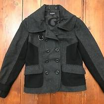 Guess Wool Rayon Pea Coat Black & Grey Double-Breasted Loose Button Lined Photo