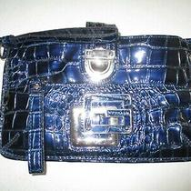 Guess Wristlet Clutch Purse Blue Patent Leather Photo