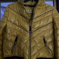 Guess Yellow Puffer Jacket With Logo Photo