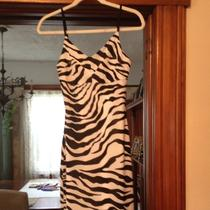 Guess Zebra Dress Adjust Straps Attached Slip Size Med / Large New Black White Photo