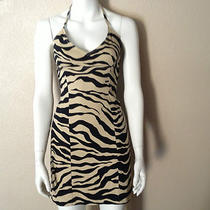 Guess Zebra Print Dress New Halter Style Stretch Mini Size 5 Photo
