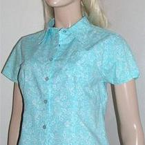 Guide Series Aqua Floral Short Sleeve Button Front Fitted Blouse Shirt S Bg124 Photo