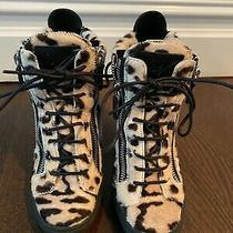 Guiseppe Zanotti Cheetah Print Fur Wedge Sneakers Size 36.5 Photo