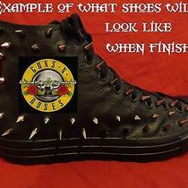 Guns N Roses Metal Punk Custom Studded Converse Shirt Sneakers Shoes W Spikes Photo