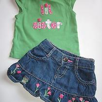 Gymboree 3-6 Mo Lil Sister Jean Frog Skirt Shirt Bright Tulip Outfit Set Spring Photo