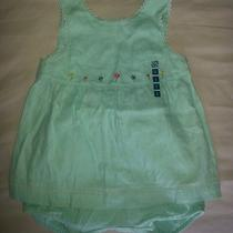 Gymboree Baby Girls Aqua Linen Swing Top and Bloomers 6-12 Months Photo