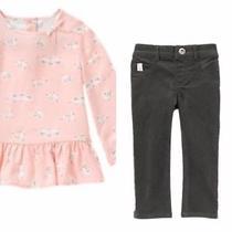 Gymboree Blushing Swan 5t Gray Corduroy Pants & Pink Swan Tunic Shirt Set Photo