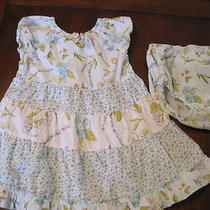 Gymboree Girls Aqua Tiered Floral Dress Sundress Diaper Cover 12-18 Month Vguc Photo