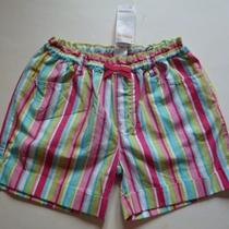 Gymboree Ice Cream Sweetie Pink/green/aqua/white Striped Shorts Size 12 New Photo