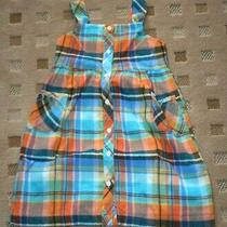 Gymboree Tropical Bloom Vintage Nwt 8 Blue/orange Plaid Gauze Dress  Photo