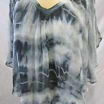 Gypsy 05 Made in Hollywood Top Tunic or Mini Dress Teal Tie Dye Cotton/silk  Xs Photo