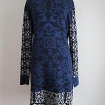 Gypsy 05 Nwt Knit Sweater Mini Dress Bohemian Print Blue/black/gray Size M Photo