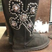 Gypsy Soule Womens Brown Swarovski Crystals Suede Knee High Boots Size 6 Photo