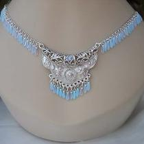 Gypsy Style Silver Plated Necklace With Czech & Swarovski Crystals 24