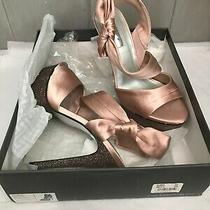 H by Halston Blush Satin Glitter Platform High Heel 8m Photo
