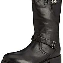 H by Hudson Black Boots Leather Biker Zip Hiking Calf Ladies Chunky Winter 6 39 Photo