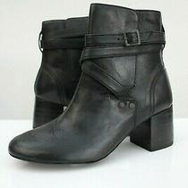 H by Hudson Black Buckle Leather Calf Heeled Ankle Chelsea Boots 5 38 Shoes Photo