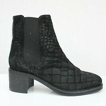 H by Hudson Black Calf Textured Elastic Leather Heeled Ankle Shoes Boots 5 38 Photo