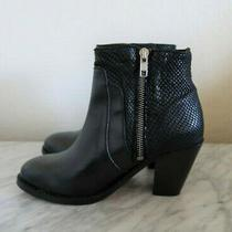 H by Hudson Slade Snake Black Leather Heeled Ankle Boots Size 6 Photo