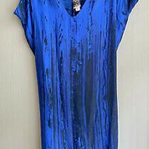 H Fredriksson Anthropologie 100% Silk Stina Dress in Blue and Black Sz L Photo