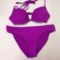 h&m 2 Piece Size 6 Swimsuit Halter Tie Top Bikini Bottoms 32b  Purple Magenta Photo