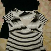 h&m 2pk Navy Blue/white Striped Maternity Nursing T-Shirts Used Size L Photo